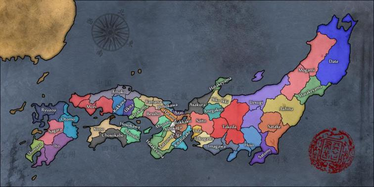 Map of Japanese clans in 1545